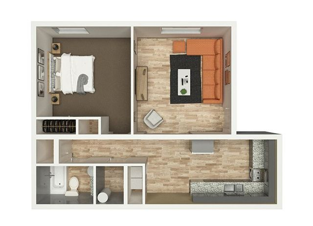 Top view of the one-bedroom apartment of Eastwood Greene